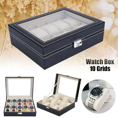 £12.79 • Buy 10 Grids Leather Watch Case Jewelry Collection Storage Holder Glass Display Box