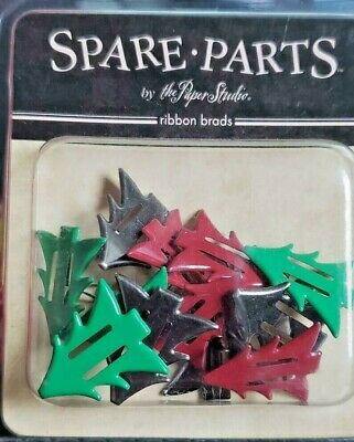 $1.94 • Buy Spare Parts By The Paper Studio RIBBON BRADS Christmas Trees Red Green 12 Pc Set