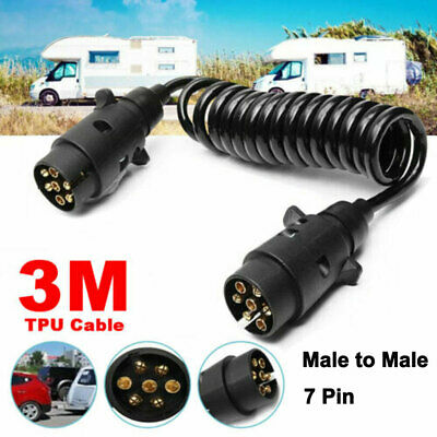 3M 7 Pin Trailer Light Board Extension Lead Cable Plug Socket Towing Caravan • 9.99£