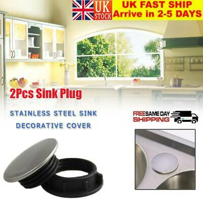 2Pcs Stainless Steel Kitchen Sink Tap Hole Blanking Plug Cover Stopper Plate UK • 5.13£
