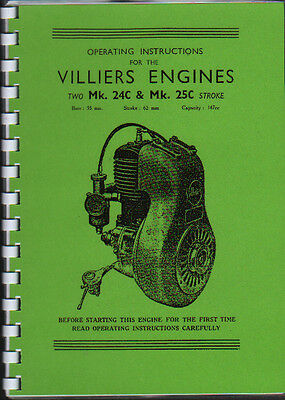 Villiers Mk.24C & Mk.25C Two Stroke Engine Instruction Spare Parts Book • 6.50£