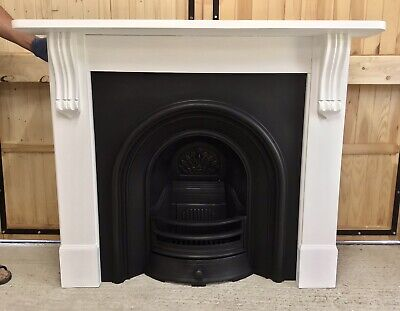 Victorian Style Arched Cast Iron Fireplace & Wooden Painted Surround • 329£