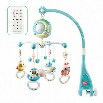 Baby Crib Mobile Musical Bed Bell With Controller Music Night Light Newborn Toy • 16.99£