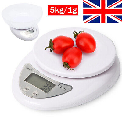 LCD Digital Kitchen Scales Electronic Cooking Food Weighing Scale With Bowl 5KG • 8.56£