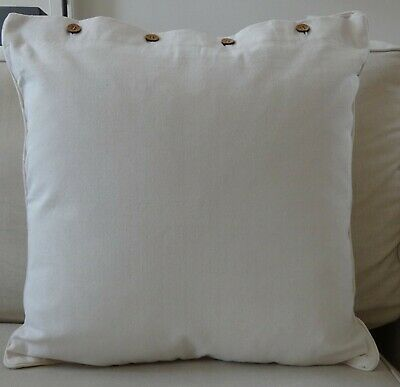 AU39.95 • Buy LARGE CUSHION COVER  60 X 60CM - COTTON CANVAS 'CREAM' - THROW SOFA COUCH DAYBED