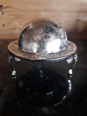 Lovely Vintage Silver Plate Roll Top Caviar Butter Dish C/w Crystal Glass Insert • 8£