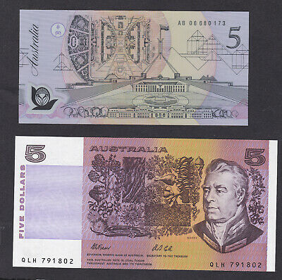 AU40 • Buy 1992 Fraser/Cole Last Paper $5 And First Polymer $5 Notes Issued By Reserve Bank