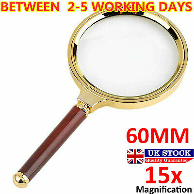 60mm Handheld 15X Magnifier Magnifying Glass Loupe Reading Jewelry Aid Big Large • 3.14£