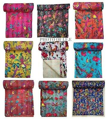 King Size Bird Print Indian Kantha Quilts Handmade Quilt Throw Bedspread Blanket • 25£