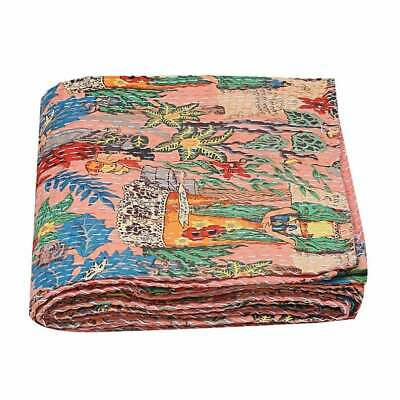 Farida Indian Kantha Quilts Handmade Throw Bedspread Blanket Quilt Bed Cover • 30£
