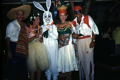$18.69 • Buy 35mm Slide 1950s Red Border Kodachrome Adults In Halloween Costumes Bunny Hula