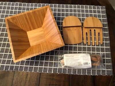 $28.95 • Buy Pampered Chef Bamboo Lot: Medium Square Bowl Mini Serving Set & Salad Claws