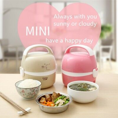 AU28.20 • Buy LOTOR 1.3L Electric Portable Lunch Box 2 Layer Stainless Steel Rice Cooker