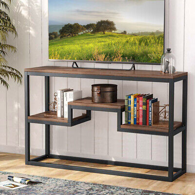 Industrial Metal Wood Console Table Shelf Hallway Hall Storage Dressing Table • 85.95£