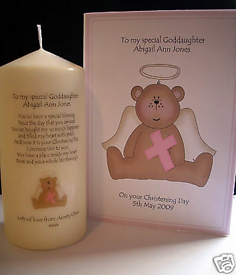 Personalised Goddaughter Baptism Christening Poem Candle & Matching Card Gift  • 13.75£