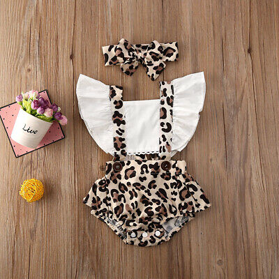 Newborn Toddler Baby Girl Clothes Ruffle Leopard Romper Jumpsuit Outfit Sunsuit • 8.99£