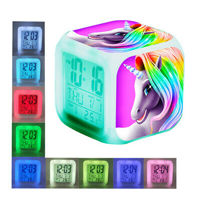 AU17.98 • Buy Cartoon Unicorn Alarm Clocks Kids Child Wake Up Clock 7 Color LED Christmas Gift