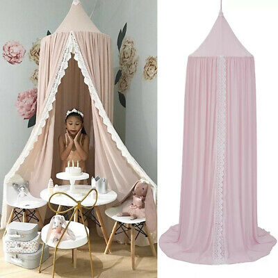 Baby Girls Bed Canopy Bedcover Chiffon Mosquito Net Curtain Bedding Dome Tent UK • 24.29£