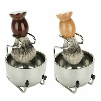 Men's Shaving Grooming Set W/ Badger Hair Brush Chrome Holder Soap Bowl Mug Cup • 8.99£