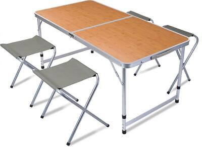 £54.62 • Buy Set Of Folding Aluminium Camping Table With 4 Chair Stool