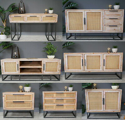 Storage Cabinet Console Table Sideboard Chest Of Drawers Fir Wood Rattan Wicker • 129.99£