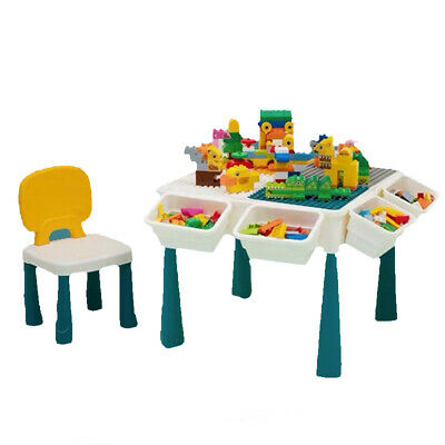 £62.07 • Buy Building Blocks Kids Table And Chairs Set Toy Bricks Activity Play