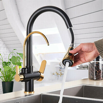 £76.46 • Buy Kitchen Sink Pure Drinking Filter Water Tap Faucet 3 Way Swivel 2 Handle Black