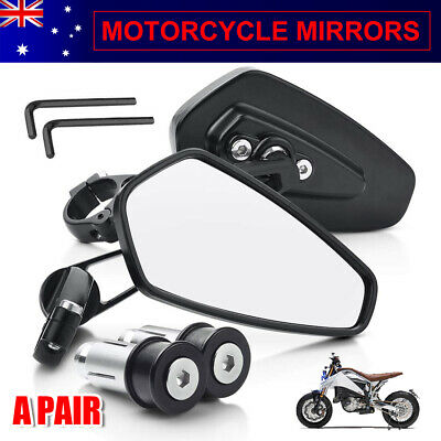 AU20.95 • Buy Universal Pair Motorcycle Bike Bar End Mirrors Rear Side View Cafe Racer 7/8  AU