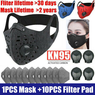AU12.60 • Buy Breathable Sport Face Cover Shield W/Valve & Filter Gaskets Activated Carbon Pad