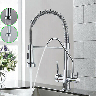 Chrome 3 Way Pure Water Kitchen Double Handle Filter Drinking Water Mixer Tap • 59£