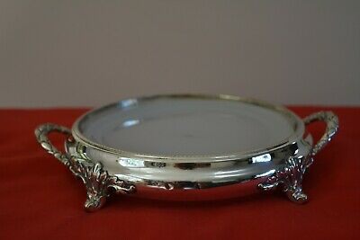 Vintage Silver-plated Four-legged Butter Dish With Inner Glass Plate. • 15£