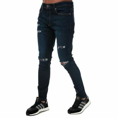 Men's Ringspun Hercules Ripped Zip Up Super Skinny Fit Jeans In Blue • 21.94£