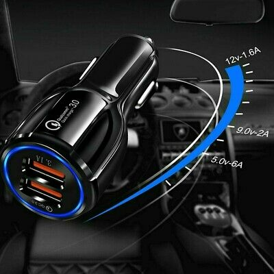 AU8.80 • Buy Fast Charge 3.0 Car Charger 2 USB Ports Power Adapter Cigarette Lighter Socket