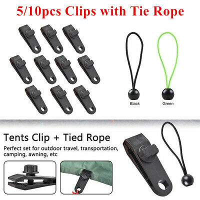 Reusable Windproof Clip Awning Clamp Tarp Clips Snap Tent Clips With Tied Ropes • 7.68£