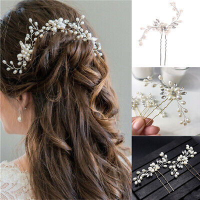 £2.68 • Buy Pearls Wedding Hair Pins Clips Jewelry Comb Bridal Hair Accessories Headpiece UK