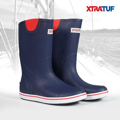 XTRATUF Men's Navy/Red 12  Rubber Deck Sailing Boating Fishing Boots (22732) • 49.95£
