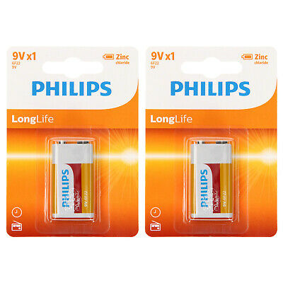 2 Pack Philips 9v 9 Volt Pp3 Zinc Chloride Batteries For Smoke Alarm Expiry 2022 • 3.99£