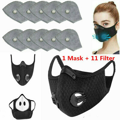 Face Mask Reusable Washable Anti Pollution PM2.5 Two Air Vent With Free Filter • 7.59£