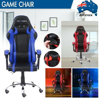 AU125.59 • Buy Gaming Chair Office Executive Computer Seating Racing Chairs Backrest /Footrest