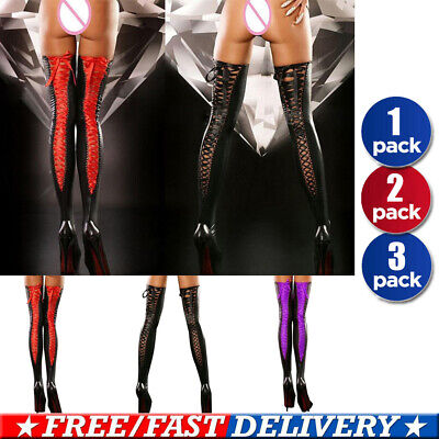 Womens Over Knee Socks Sexy Thong Pantyhose Sock PU Leather Lace Up Stockings • 6.89£