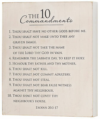 10 Commandments Weathered Gray Wash 9.5x8 MDF Wall And Tabletop Sign Plaque • 15.39£