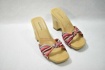 $18.99 • Buy Amanda Smith Shoes Sandals Striped Wedge Heels Size 8 Women's New