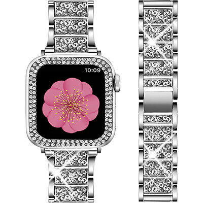 $ CDN19.32 • Buy Bling Diamond Band Strap+Protective Case For Apple Watch IWatch Series 5 4 3 2 1