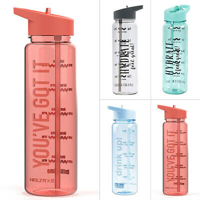 720ML Water Bottle With Straw Plastic BPA Free Leakproof Sports Portable Drinks~ • 7.31£
