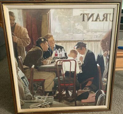 "$ CDN400.02 • Buy Framed Norman Rockwell ""Saying Grace"" Plate Signed"