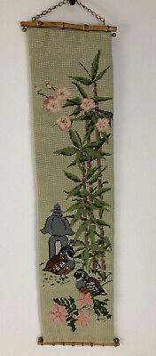 Vtg Needlepoint Bell Pull Floral Asian Cherry Blossoms Green Wool Bamboo Hanger • 34.81£