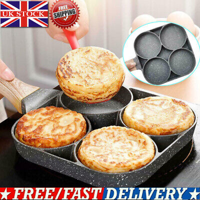 4 Holes Omelet Pan For Burger Egg Ham Pancake Maker Wooden Handle Frying Pan UK • 15.57£