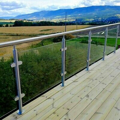 Balcony Stairs Pool Glass Panel Balustrade Railing Glazing Stainless Steel Poles • 35.99£