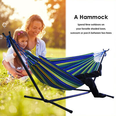 Portable Outdoor Canvas Hammock Stand Camping Sleeping Swing Hanging Bed Chair • 20.10£