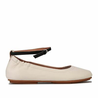 Women's Fit Flop Allegro Leather Ankle Strap Ballet Pumps In Cream • 48.94£